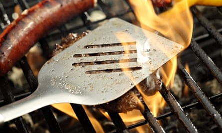 Barbecue grill with hamburger and sausage