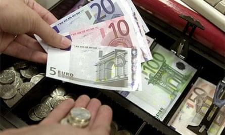 Euro money coins in a till