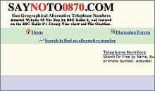 Say no to 0870 website