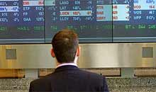 FTSE 100 screen at the Stock Exchange