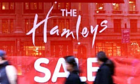 Sale sign at Hamleys toy shop