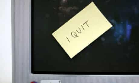 Resignation note stuck on computer screen