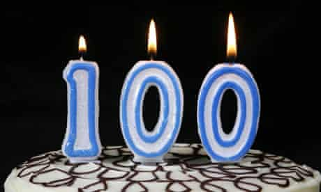 Candles on 100th birthday cake