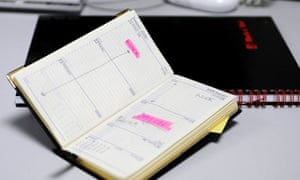 Work diary showing day off