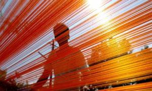 Fabric weaver in India
