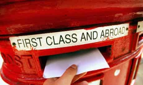 Posting a letter in a post box