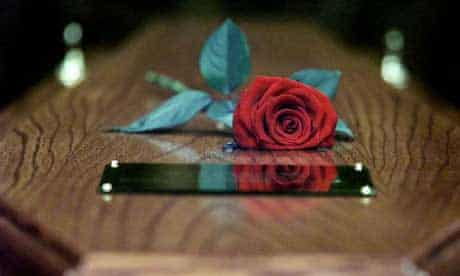 Red rose on a coffin