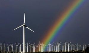 Windfarm and rainbow