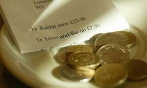 Restaurant bill and tip