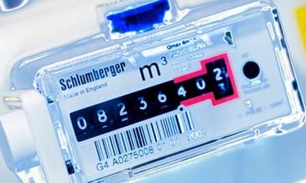 A gas meter display