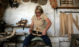 Sarah Page makes a trug in her workshop near Hailsham, East Sussex