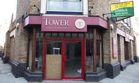 Vacated offices of Tower Property Services on Wapping high street