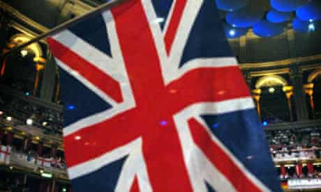A Union Jack flag being waved at the Royal Albert Hall in London