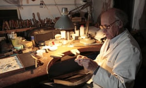 Alan Evans in the workshops of watchmaker and silversmith Simon Benney, near Marlborough, Wilts