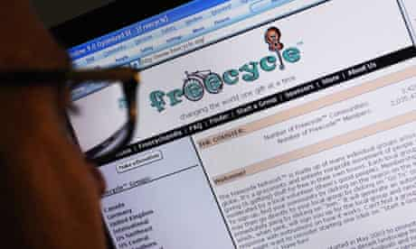The Freecycle website where users swap free things