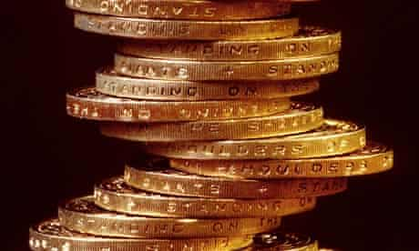 A stack of £2 coins