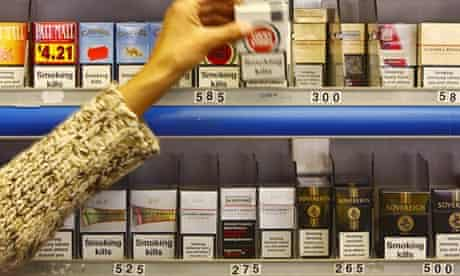 Purchasing cigarettes in a shop