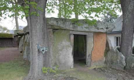 Dolmen in a garden in Loire, France