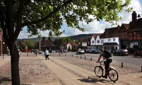 Wendover high street looking towards Wendover Woods and the Chilterns