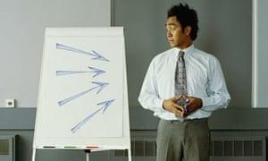 A businessman with a flip chart presentation