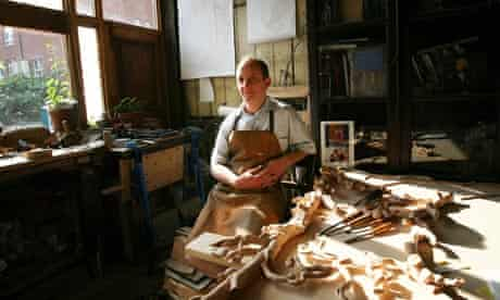 Hugh Wedderburn, wood carver, in his workshop