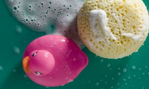 Rubber duck and sponge with soap foam