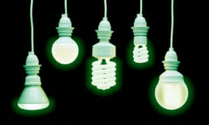 Energy saving lightbulbs with a green filter on the image