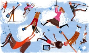 Illustration of people using Twitter and iPads