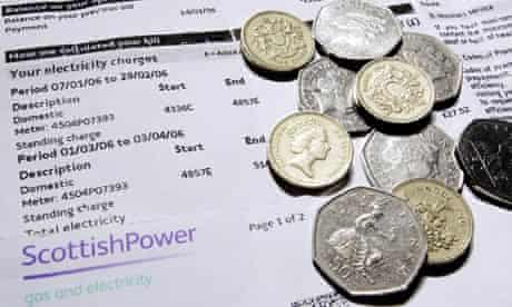 A ScottishPower electricity bill and some money