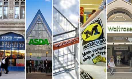Tesco, Asda, Sainsbury's, Morrisons and Waitrose shop fronts
