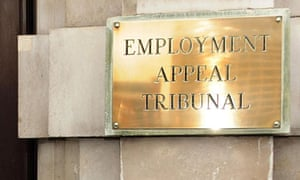 An employment tribunal sign at Audit House, London.