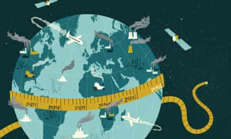 An illustration of the world with a tape measure around it