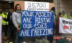 Fuel Poverty Action Group protestors outside EDF headquarters