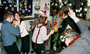 Colleagues Dancing at a Christmas Office Party