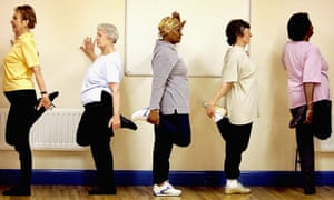 Pensioners keep fit at an exercise class