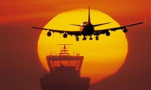 """""""An aeroplane seen against a setting sun"""""""