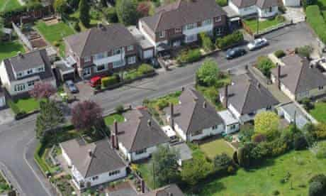 Aerial view of British town suburbia