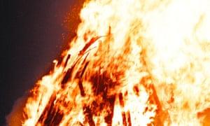 A bonfire burning
