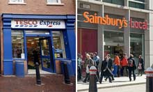 Shop fronts of a Tesco Express and a Sainsbury's Local