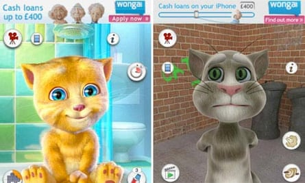 Wonga adverts in smartphone games for children