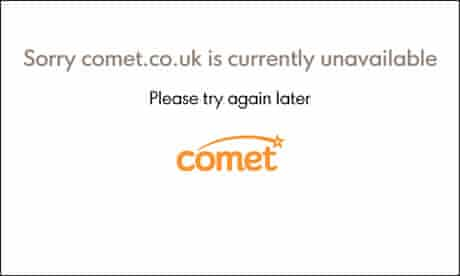 Comet website as it is poised to enter administration