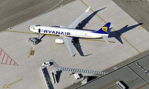 A Ryanair plane before departure