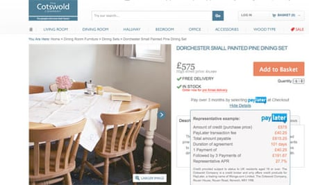 Wonga PayLater service on Cotswold Co website