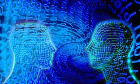 Human heads with binary code swirling around them
