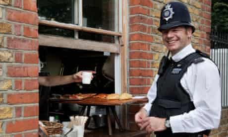 A friendly policeman 'Bobby' at lunchtime