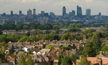 London skyline, with suburban houses in the foreground