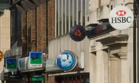 A high street with Lloyds, Barclays, HSBC and NatWest banks on it
