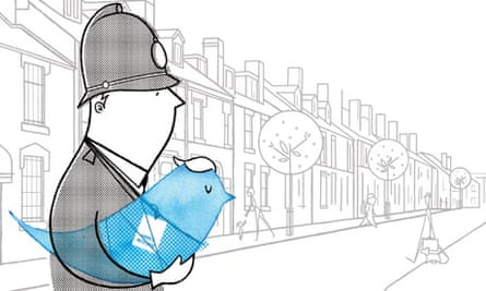 Illustration: A tweeting policeman