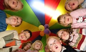 Children being astonished in a nursery school