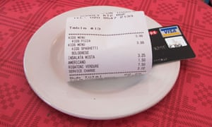 A restaurant bill with credit card